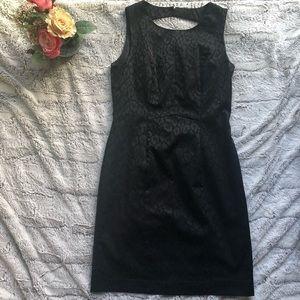 Women's H&M Black Pattern Sheath Dress Sz 10